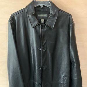 Banana Republic Men's Black Leather Trench sz L